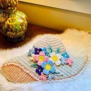 🦋2/$10 3/$15 4/$18 5/$20 Vintage Floral Hat Wall Hanging